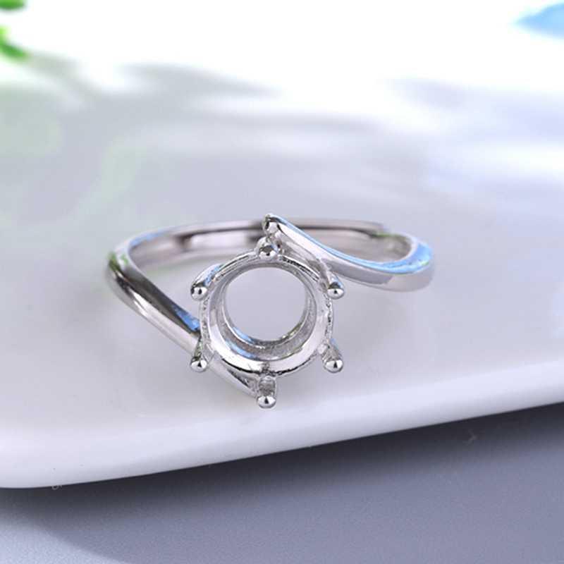 925 เงินสเตอร์ลิงสตรีงานแต่งงานแหวน 8x8 มม.ตัดกึ่ง Mount แหวนเปิดปรับขายส่ง