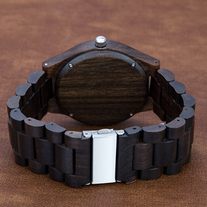 Image 2 - العلامة التجارية ساعة خشبية ريترو تصميم أنيق الخشب الساعات اليابان المواطن حركة الرجال ساعات كوارتز هدية للرجال الساعات