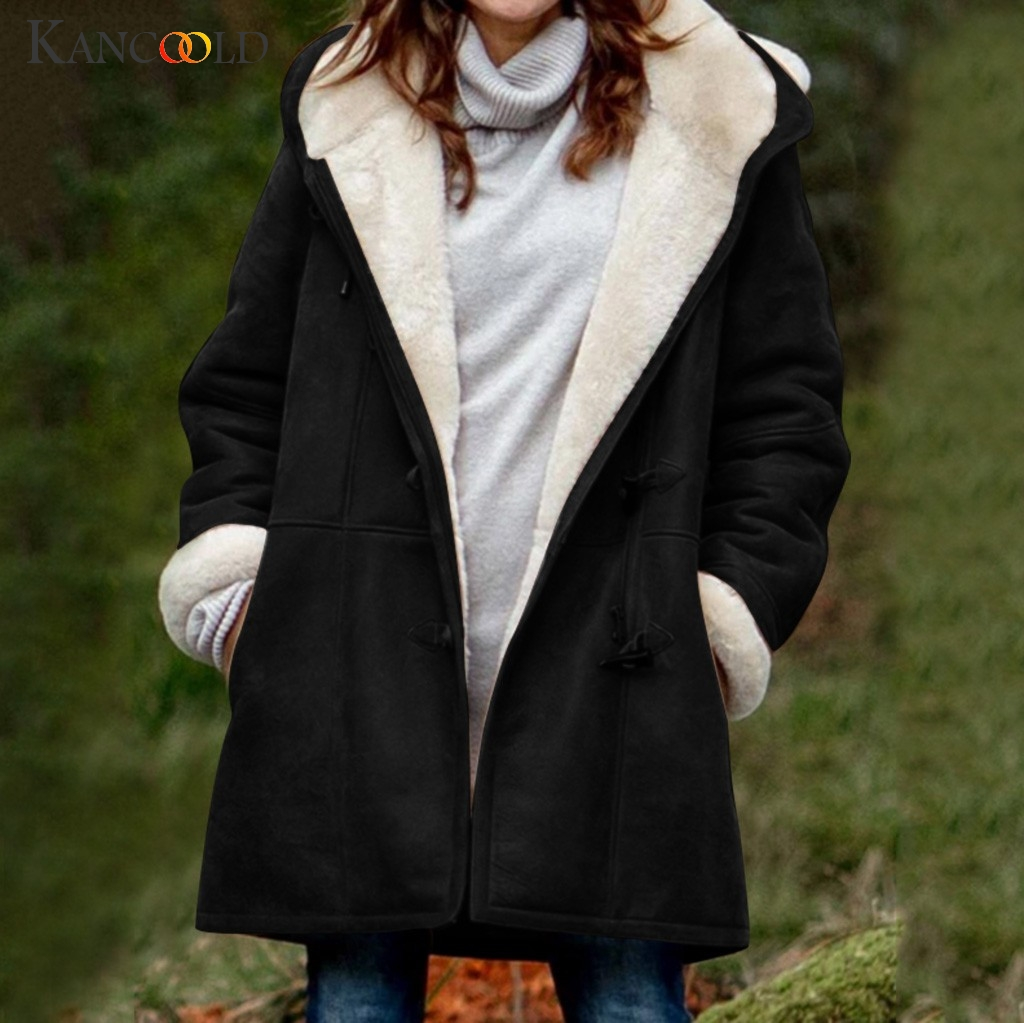 KANCOOLD Winter New Warm Cotton Jacket Women Korean Loose Large Size Long Plus Velvet Cotton Jackets Women's Hooded Parkas