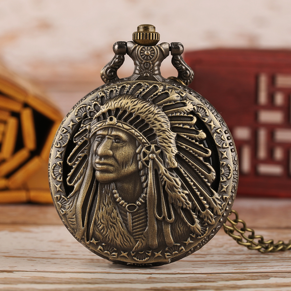 Vintage Old Man Portrait Design Quartz Fob Pocket Watch Retro Bronze Pendant Necklace Chain Antique Souvenir Gifts For Men Women