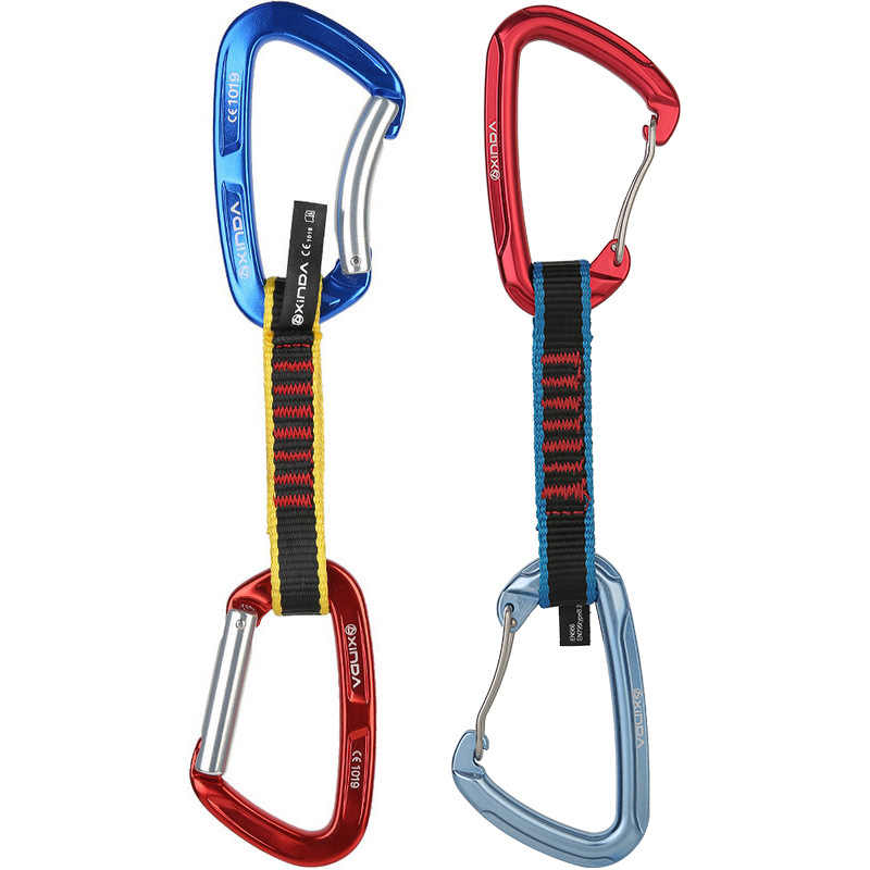 DoMyfit Professional Safety Lock Extenders Carabiner Climbing Rock Quickdraw Sling Mountaineer Outdoor Protect Gear