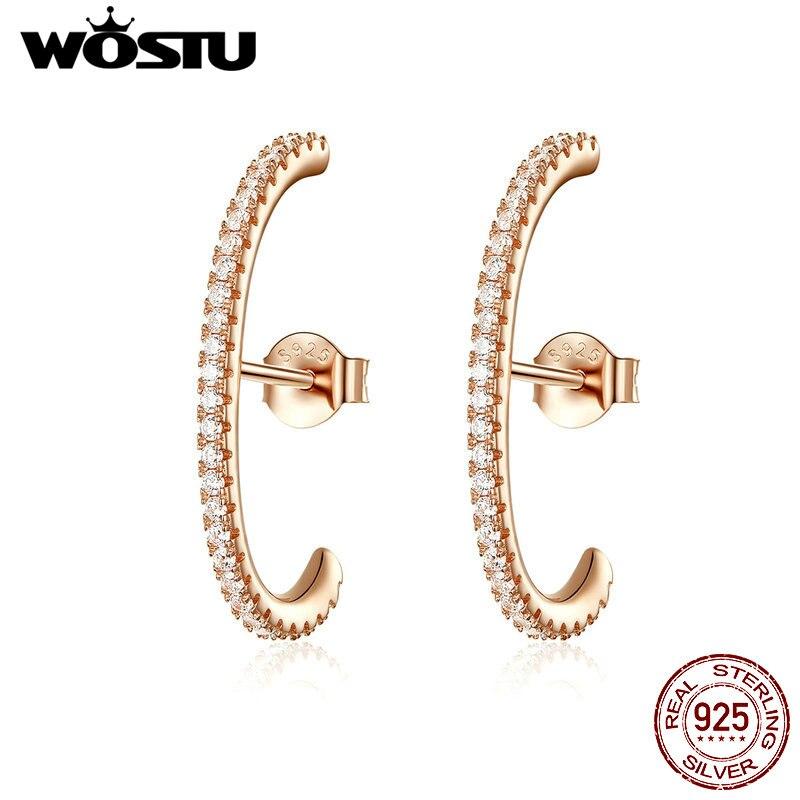 WOSTU 925 Sterling Silver Stud Earrings Rose Gold Clear CZ Minimal Earrings For Women Girls Party Bar Skinny 925 Jewelry CQE548
