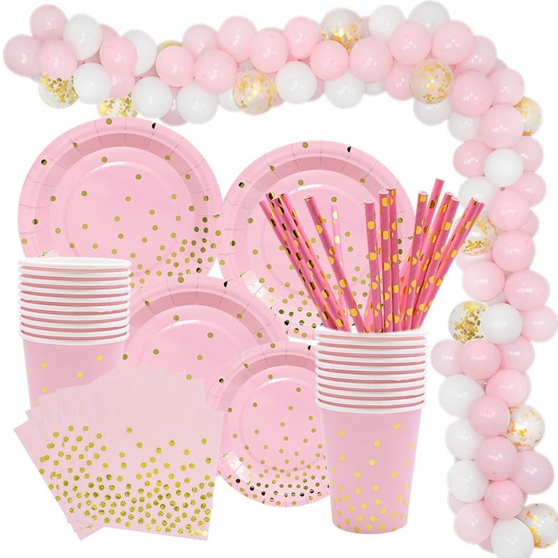Розовые и золотые вечерние одноразовые столовые приборы, набор бумажных тарелок, чашка, салфетки трубочки, шар, гирлянда, украшение для дево...