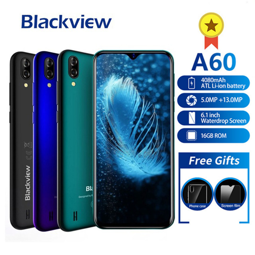 Blackview A60 Smartphone 4080mAh Android 8.1 13MP Dual Camera Cellphone MT6580A Quad Core 6.1