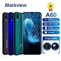 Blackview A60 Smartphone 4080mAh Android 8.1 13MP Dual Camera Cellphone MT6580A Quad core 6.1Waterdrop Screen Mobile Phone A 60