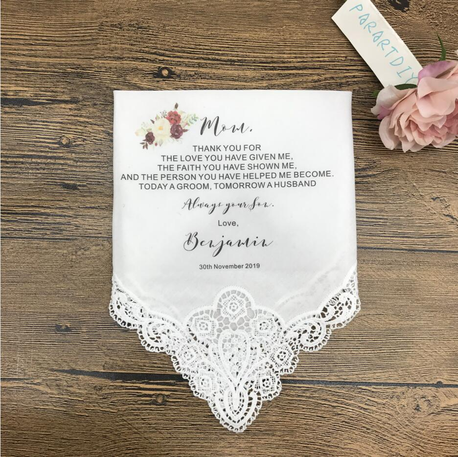 Mother of the Groom Personalised Wedding Handkerchief TODAY A GROOM Mum gift