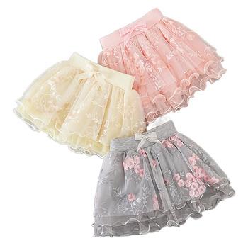 Jakość dziewczynka spódnice ładne kwiaty haft Mesh Tutu balet Party Cosplay dzieci koronki taniec Tulle princeska 0-8 lat tanie i dobre opinie Na co dzień CN (pochodzenie) Pasuje prawda na wymiar weź swój normalny rozmiar COTTON Floral embroidery RXKZ01 Powyżej kolana Mini