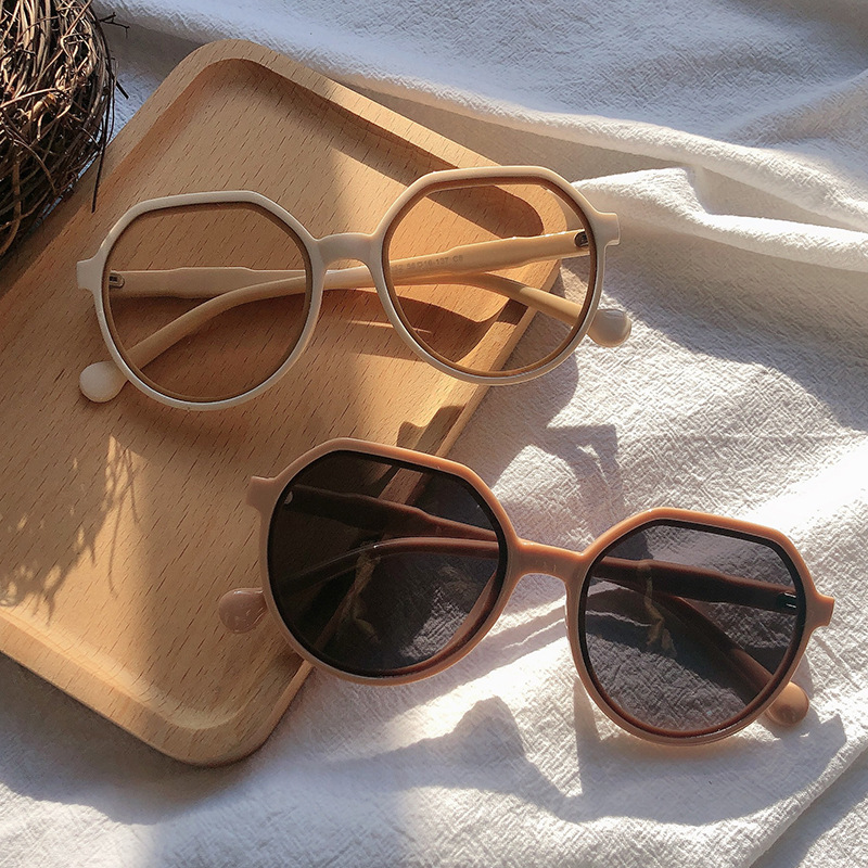 2021 New Fashion Style All match Trend Sunglasses Personalized Round Frame Sunglasses Ins Trend Candy Color Big Frame Sunglasses