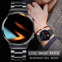 LIGE جديد بلوتوث دعوة ساعة ساعة ذكية الرجال والنساء كامل اللمس جهاز تعقب للياقة البدنية ضغط الدم ساعة ذكية الرجال ساعة ذكية