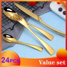 Spklifey Gold Cutlery Set 24 Pcs Steel Spoon and Fork Knives Spoons Dinnerware