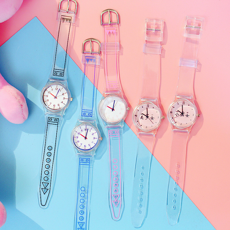 Women Watches Silicone Cartoon Style Transparent Strap Women Watch Korean Style Round Dial Casual Watch J55