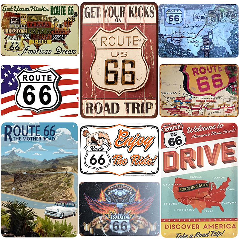 US Route 66 Road Map Sign Retro Shabby Metal Tin Sign Plaques Motor Car Garage Wall Decor Iron Plate Plaques Art Poster 20x30cm