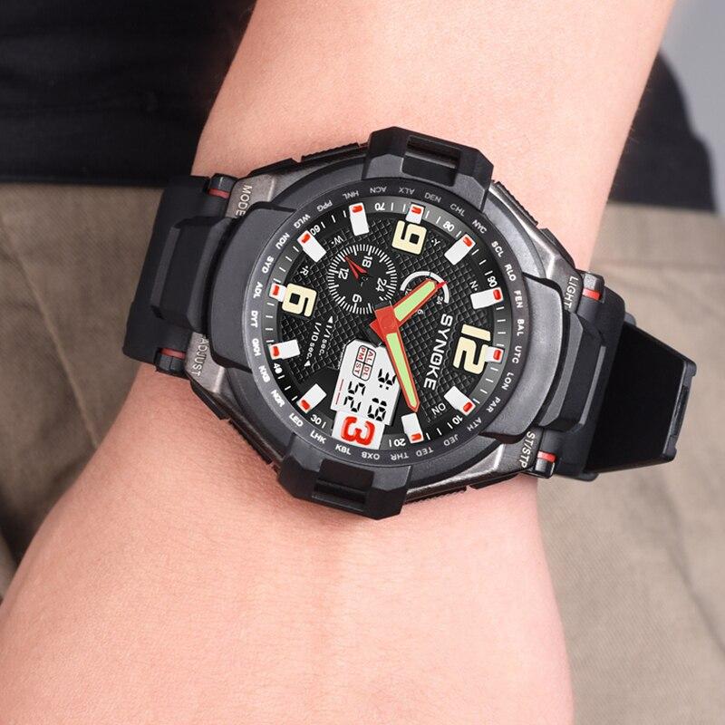 SYNOKE Men Quartz Watch Military Sport Wristwatch Rubber Strap Sport Mens Reloj Complete Calendar Digital Watches Homme Saati