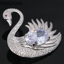 36x30mm Classic Swan Shape White Sapphire Tourmaline CZ Ladies Present Silver Brooch