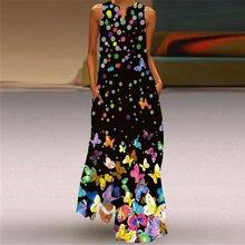 New Fashion Print Summer Dress Casual Floral Sexy Boho Beach Vintage Dresses Women V-neck Sleeveless Pocket Plus Size Long Dress