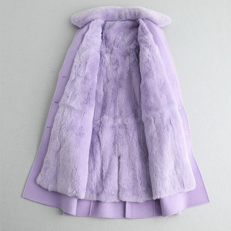 Fur Real Coat Female Natural Rabbit Fur Liner 100% Wool Coat Winter Jacket Women Mink Fur Collar Korean Long Jackets MY S