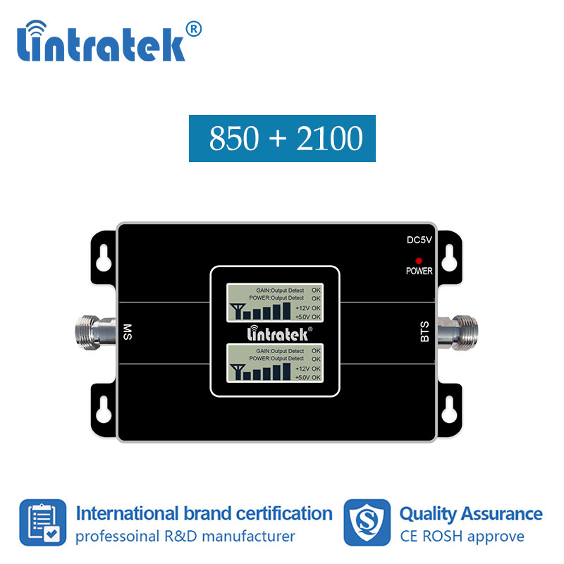 Lintratek 2G GSM CDMA 850 3G 2100mhz WCDMA UMTS 2100 MHz Double Band Cell Phone Signal Booster Improve Repeater Amplifier #7