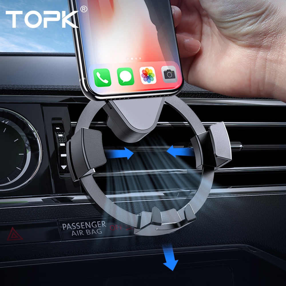 TOPK Gravity Car Phone Holder For IPhone 8 7 6 Plus 11 Phone GPS Stand In Car Air Vent Clip Mount Mobile Car Holder For Phone