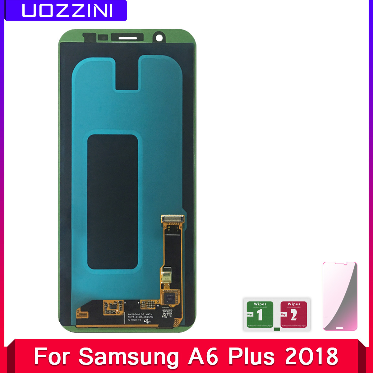 2 Pcs Super AMOLED Lcds For Samsung A6 Plus 2018 A605 For Samsung A6 Plus 2018 Display Touch Screen Digitizer Assembly