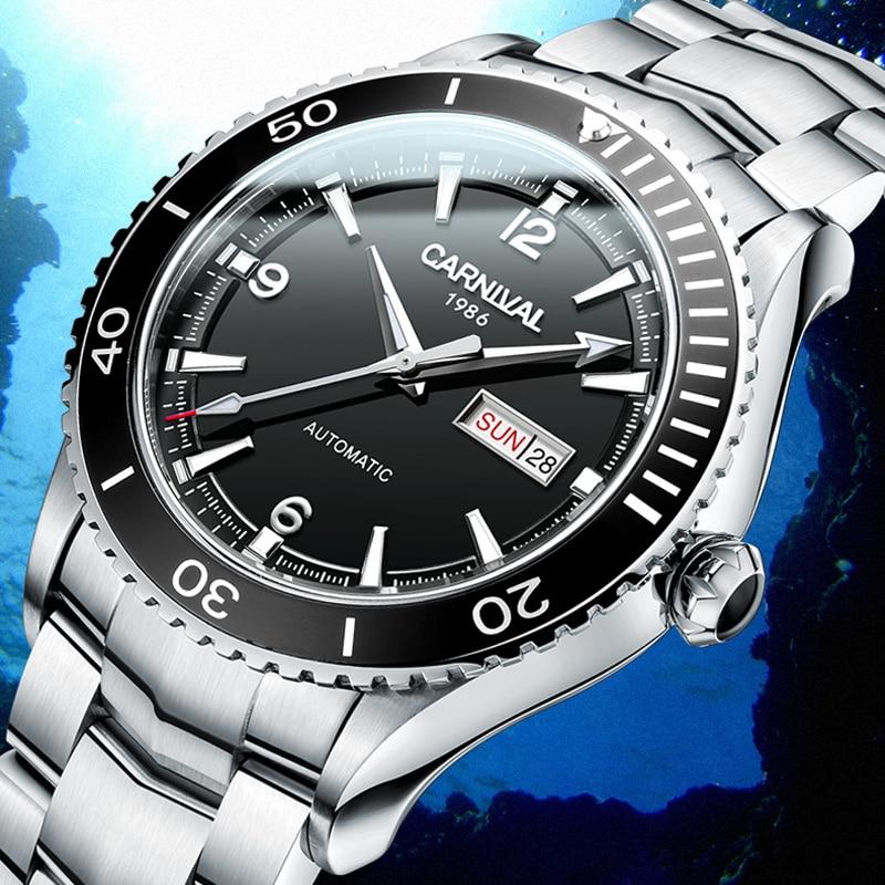 CARNIVAL Diving Sport Automatic Watch Men Luxury Brand Waterproof Fashion Luminous Mechanical Wristwatch Clock Reloj Hombre 2020