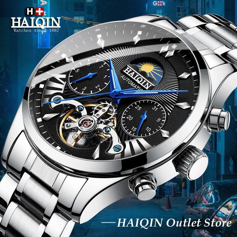 Chaud automatique mécanique hommes montres haut de gamme de luxe HAIQIN nouvelle montre d'affaires hommes Tourbillon horloge militaire Relogio Masculino