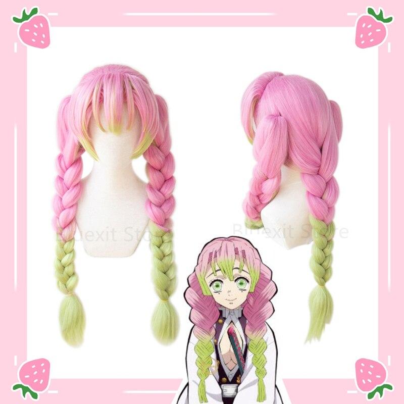 Kimetsu no Yaiba Kanroji Mitsuri Wig Demon Slayer Three Ponytails Long Thick Braided Pink Green Cosplay Hair Women Role Play