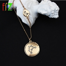 F.J4Z New 12 Horoscope Necklaces Vintage Fashion Antique Alloy Sign of Zodiac Pendant Women Lovers Necklace Jewely Collection animal zodiac monkey choke necklaces new life rabbit alloy clavicle pendant chocker necklace wedding bride gift