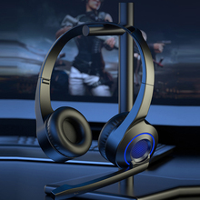 LED Light Wired Headphones with Microphone for Computer Gamers Headphones Surround Sound Stereo 3.5mm Plug