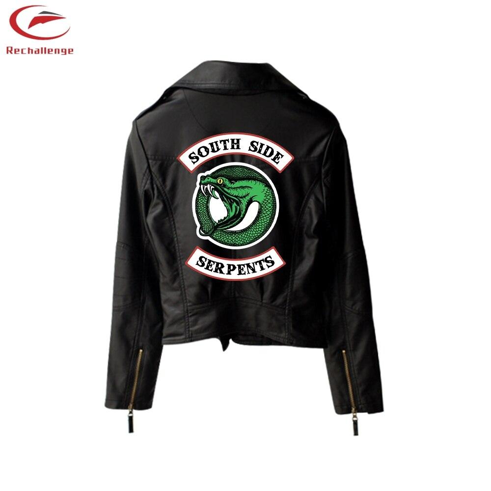 New Riverdale PU Printed Logo Southside Riverdale Serpents Jackets Women Riverdale Serpent Streetwear Leather Jacket Trend