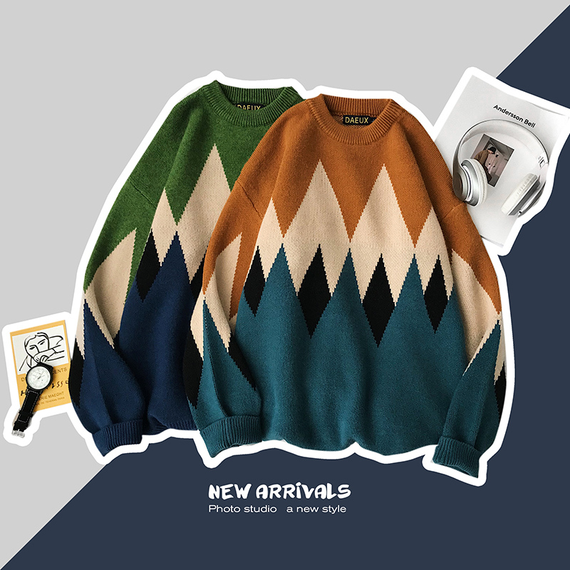 Autumn Sweater Men Fashion Contrast Casual O-Neck Knit Pullover Men Streetwear Loose Long Sleeve Sweter Male Clothes M-5XL