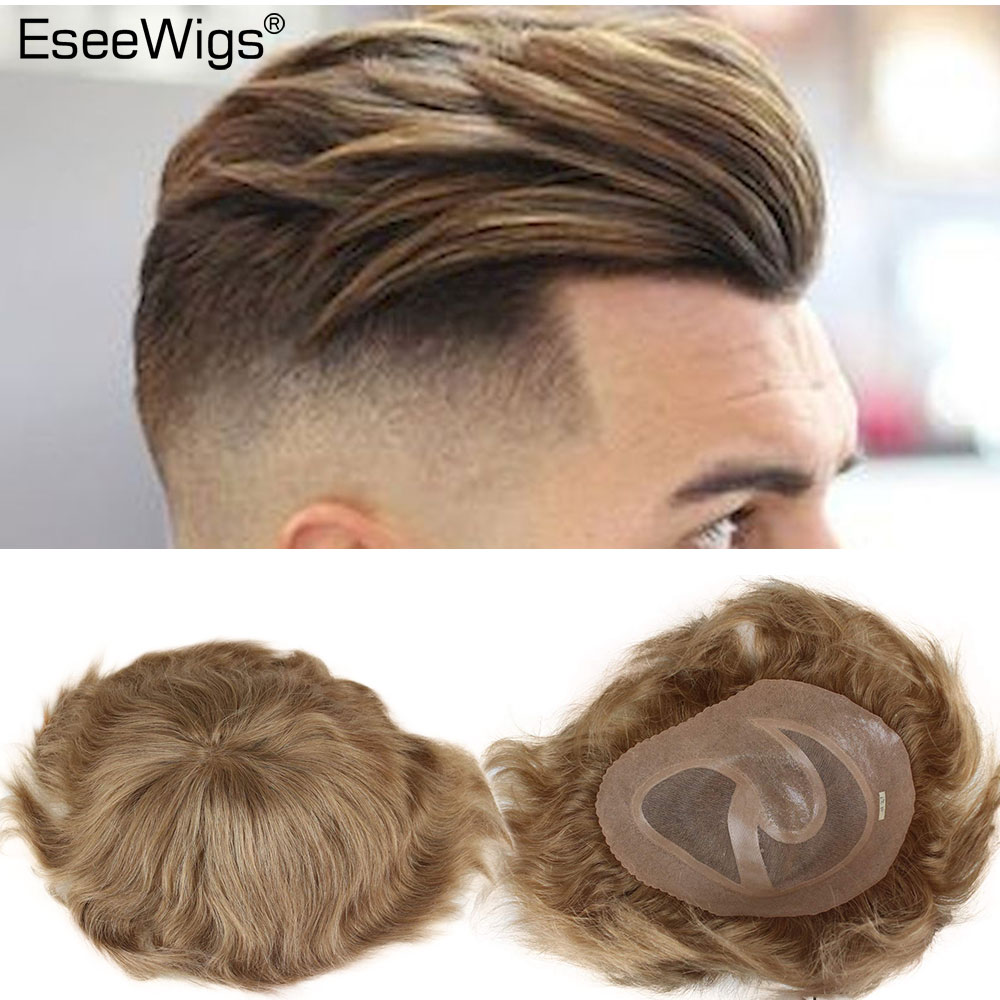 Men's Toupee Swiss Mono Lace Thin Skin Hairpiece Wigs Replacement System For Men #21 Ash Blonde Color European Human Hair 10x8