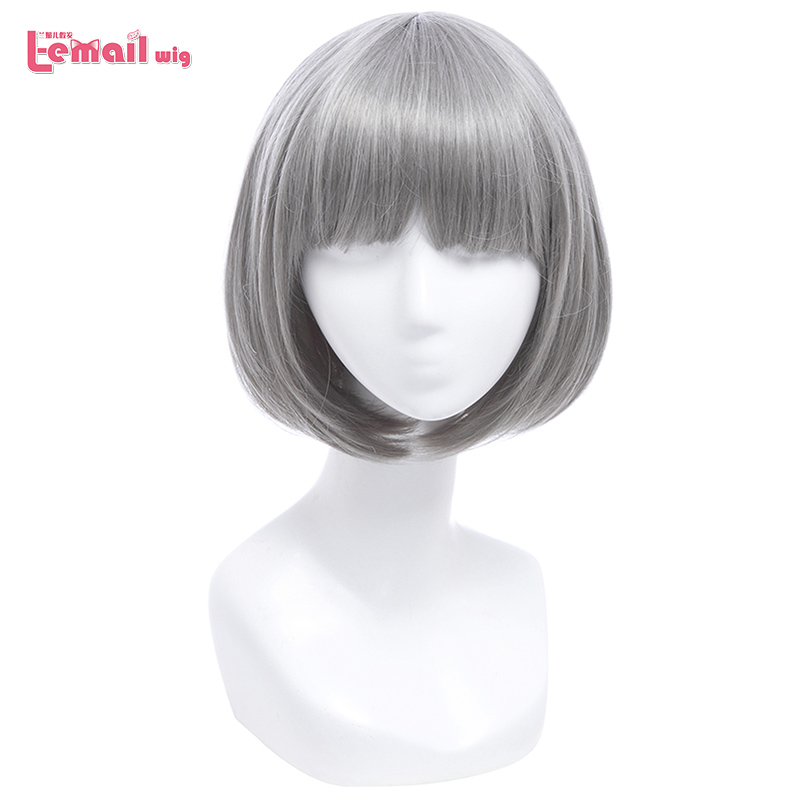 L-email Wig 12inch 30cm Short Bobo Cosplay Wigs 5 Color Straight Pink Yellow Purple Synthetic Hair Perucas Cosplay Wig