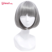 L email wig 12inch 30cm Short Bobo Cosplay Wigs 5 Color Straight Pink Yellow Purple Synthetic Hair Perucas Cosplay Wig