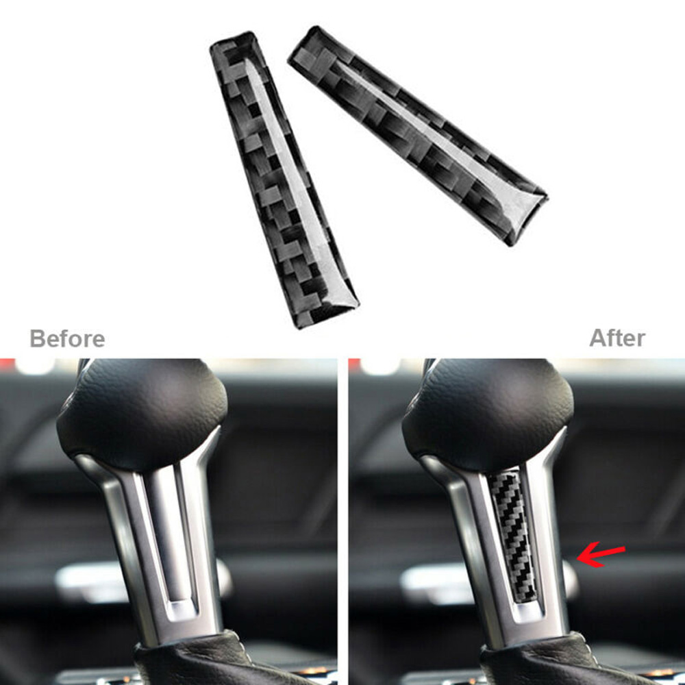 Car Decorative Gear Shift Trim For Ford Mustang 2015-2019 Parts Interior Inner Gear Shift Handle Trim Cover Carbon Fiber