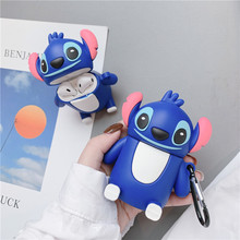 Lovely 3D Cute Cartoon Stand Stitch Silicone Phone Holder For Apple Airpods 1/2 Wireless Earphone Dust Guard Protection Cover
