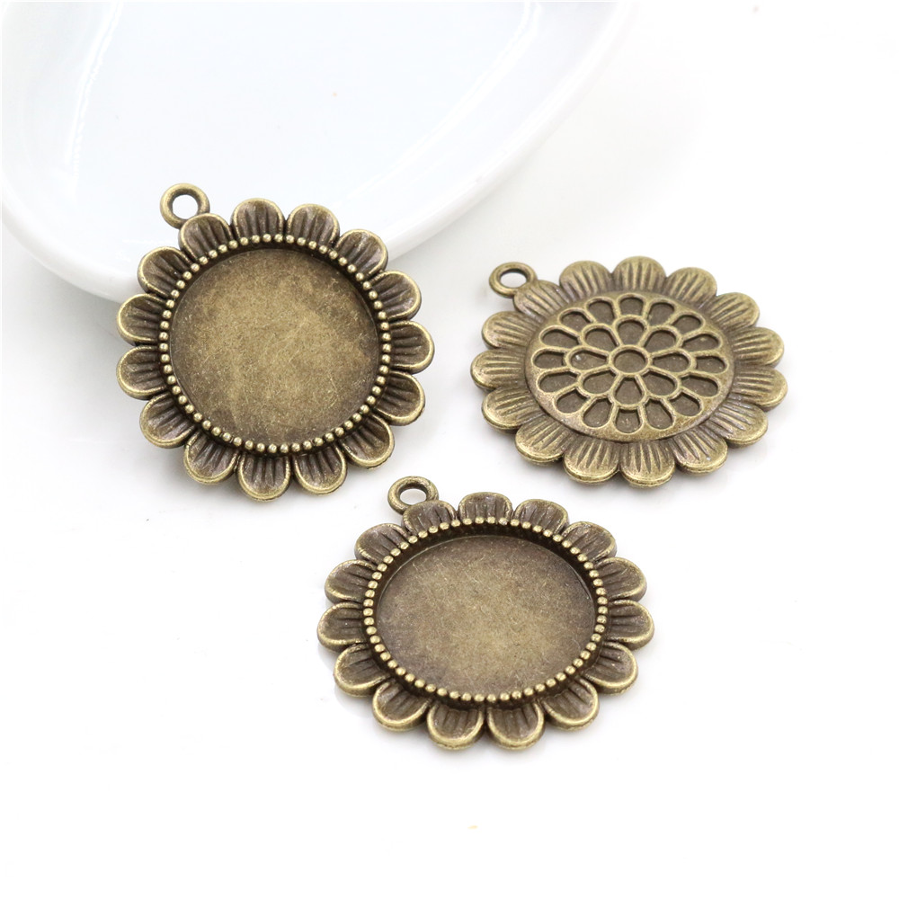 5pcs 20mm Inner Size Antique Bronze Classic Style Cabochon Base Setting Charms Pendant (D3-51)