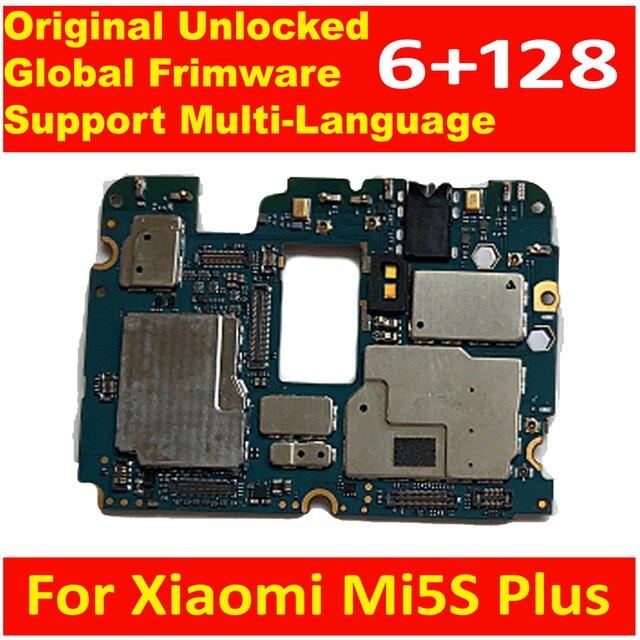 100% carte mère dorigine pour Xiaomi Mi5S Plus carte mère avec puces Circuits câble flexible Global Frimware 6GB + 128GB