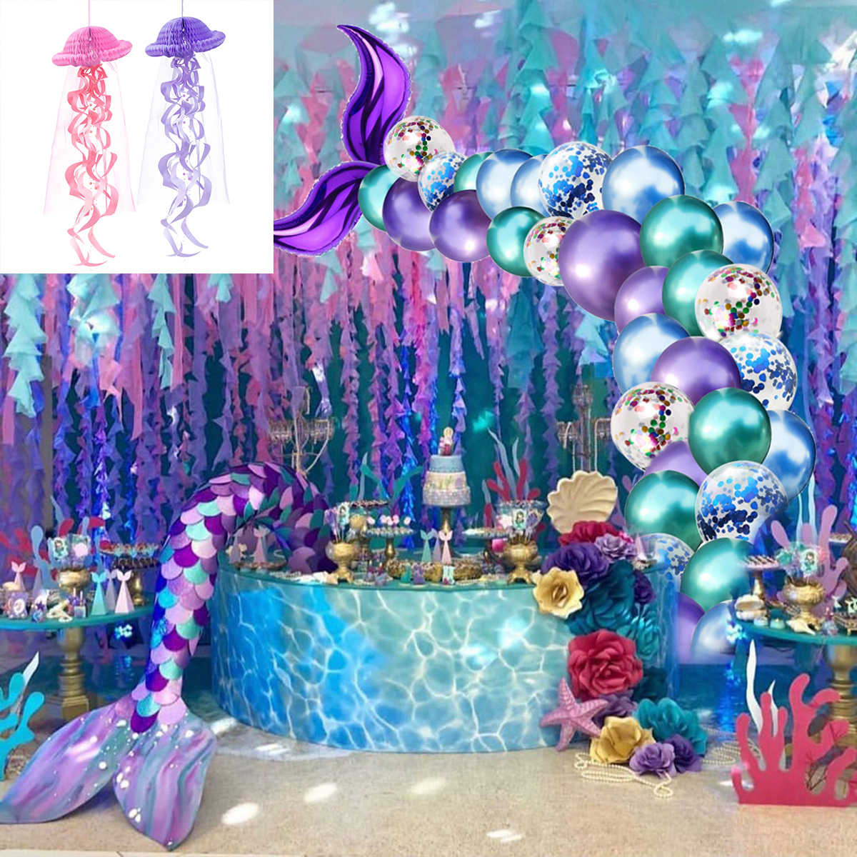 HUIRAN Romantic Little Mermaid Party Supplies Mermaid Decoration Mermaid Birthday Party Favors Kids Birthday Parties Decorations