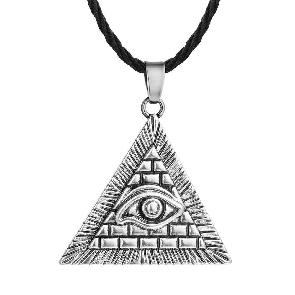 QIAMNI egipski egipt piramidy wisiorek oko proroka naszyjnik w stylu Vintage geometryczny trójkąt Amulet Rope Chain naszyjniki mężczyzn biżuteria prezent