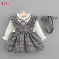 LZH-vestido de princesa para niñas pequeñas, ropa informal a cuadros para Fiesta infantil, ropa para recién nacidos, otoño de 2021