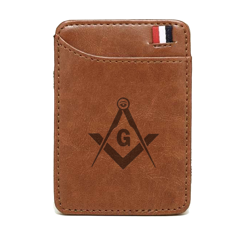 New Emblem Of Masonic Wallet High Quality Leather Magic Wallets Fashion Men Women Money Clips Card Purse Cash Holder