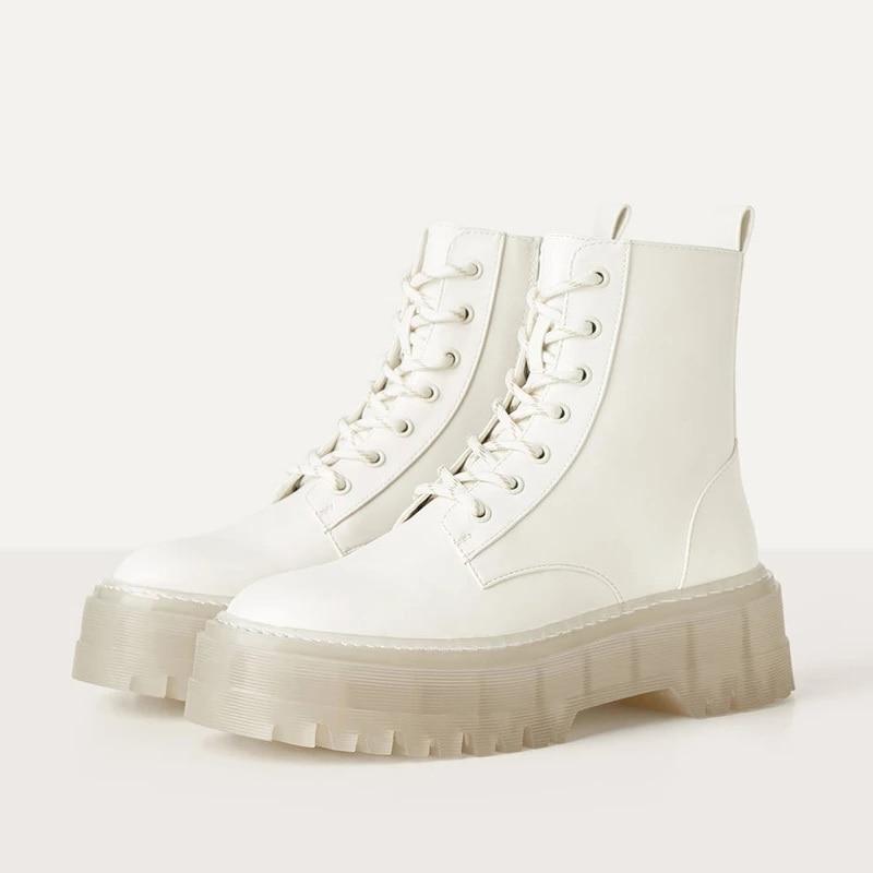 Белые женские ботильоны в байкерском стиле; Зимние ботинки на танкетке; Женские осенние туфли-оксфорды на платформе со шнуровкой из мягкой ...