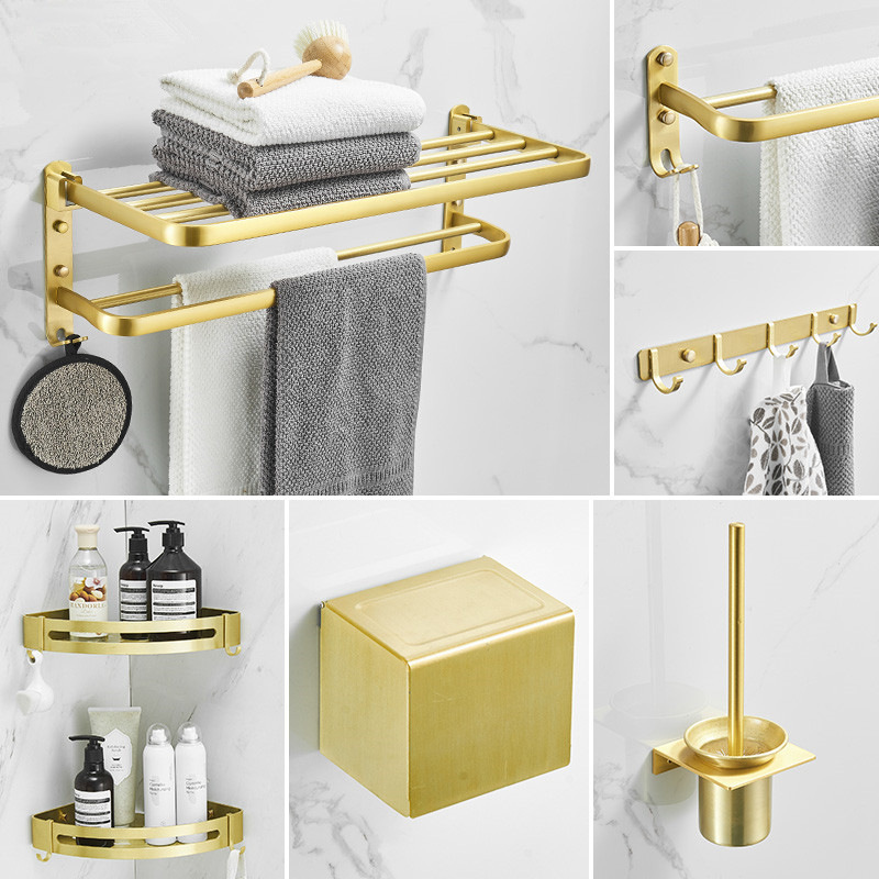 Discreet Bathroom Accessories Set Brushed Gold Corner Shelf,towel Rack,towel Hanger Paper Holder,toilet Brush Holder Bath Hardware Sets