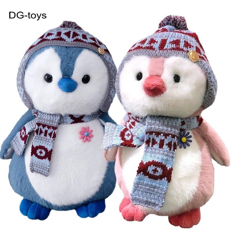 Симпатичные пушистые плюшевые игрушки в виде пингвина, плюшевые игрушки в виде мультяшных животных, шарф, шапка, одежда, пингвин, куклы, игру...