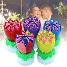 Atualizar multicolorido girando lotus bolo de vela música eletrônica vela aniversário casamento bolo decoração para crianças presente festa diy