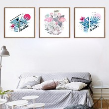 Abstract Geometric Animal Plant Canvas Painting Simple Flamingo Poster Home Living Room Wall Art Decoration Painting Pictures