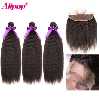 Alipop 360 Lace Frontal With Bundle Kinky Straight Hair With Closure Peruvian Human Hair Remy Hair Bundles With Closure Frontal image