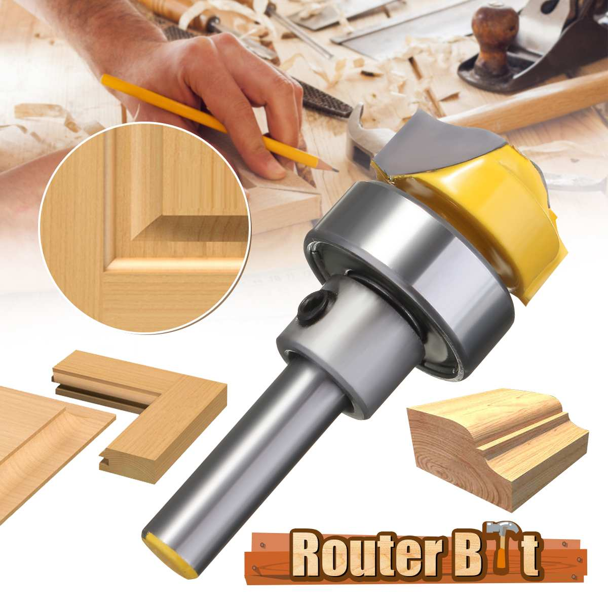 Profiles Groove Template Router Bit 1/4 Shank 2 Flute Handwork Tools For Woodworking Cutter 42mm