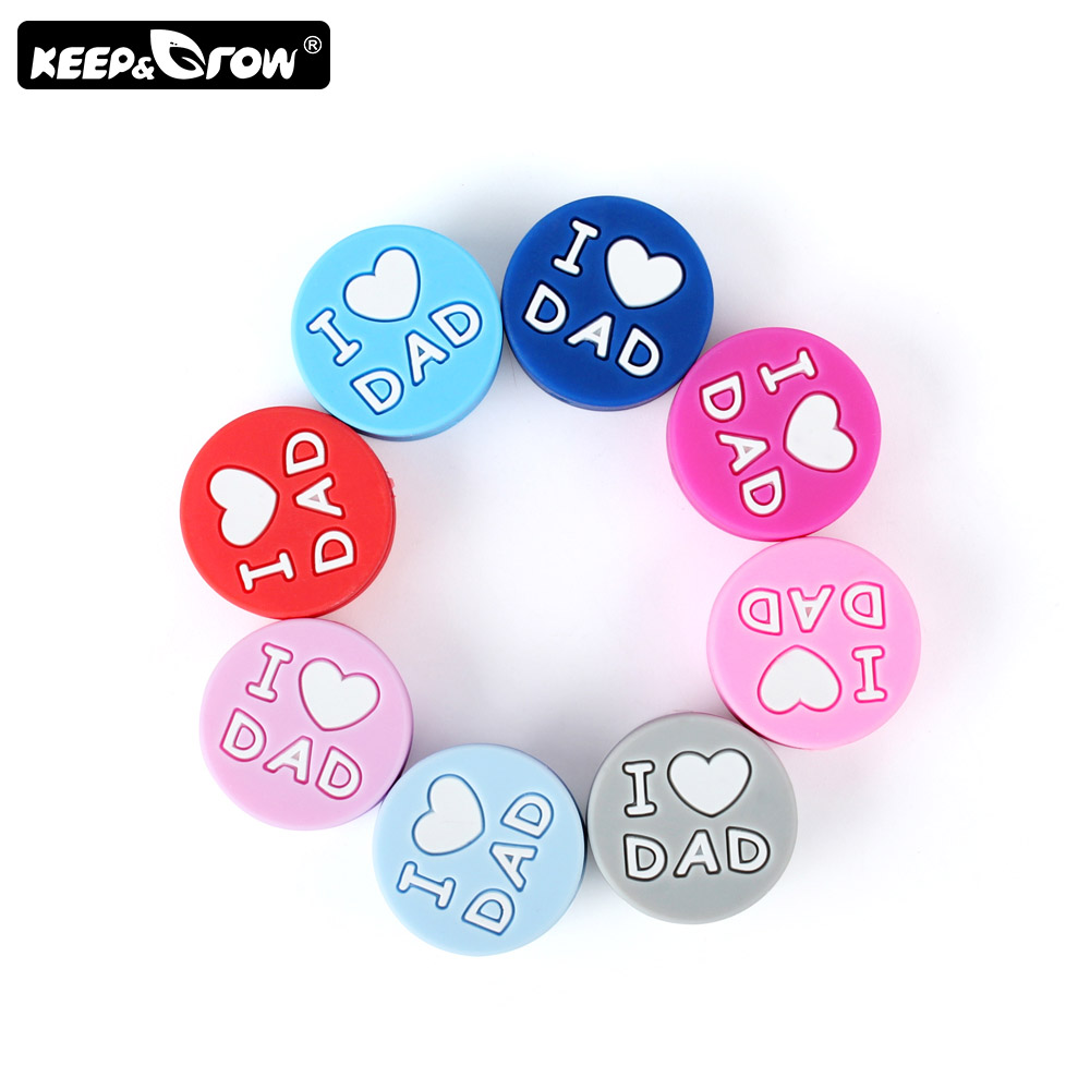 Keep&Grow 10pcs I Love Dad Silicone Beads Round Baby Teething Beads DIY Pacifier Clips Bead Teething Toys Rodent Baby Products