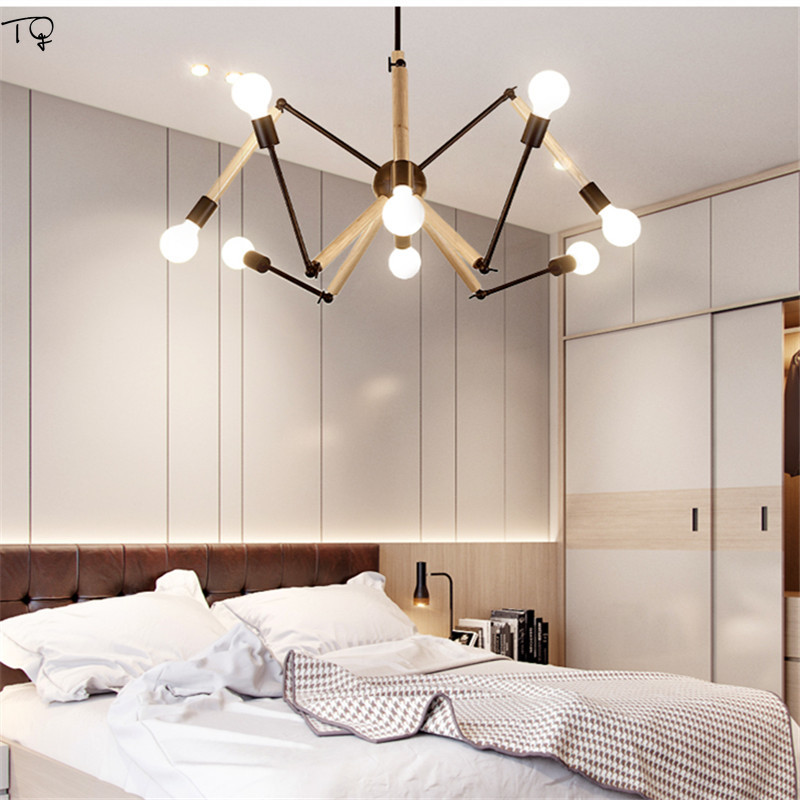 Nordic Design Modern Spider Chandelier Led Study Dining Restaurant Bedroom Living Room Art Loft Decor Pendant Wood Hanglamp 220 in Chandeliers from Lights Lighting